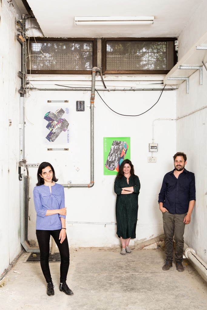 Artistic director Anat Safran, chief curator Tal Erez, and manager Ayelet Dror for Ran Wolf Urban Planning and Project Management. Photo: Itai Benit