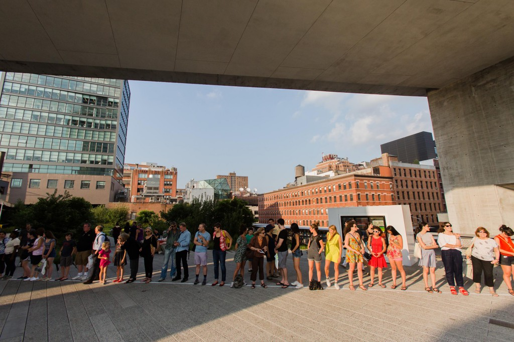 David Lamelas, Time Line on the High Line, 2014. A High Line Performance. On view July 22 – 24, 2014. Photo by Liz Ligon. Courtesy of Friends of the High Line.