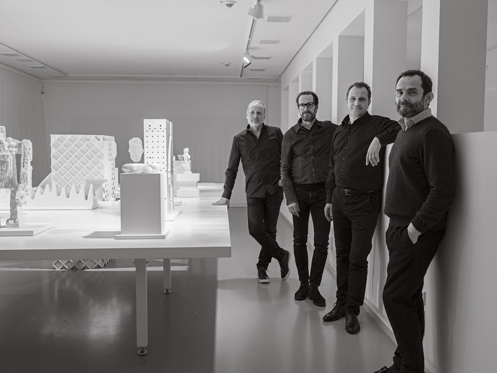 Laufen Milestones installation view with Peter Wirz, Konstantin Grcic, Aurel Aebi and Roberto Palomba at Design Miami/ Basel 2017