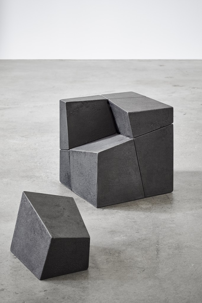 "DIVIDED III Cast iron (iron flings from projects 1977-present) 14"" x 14"" x 14"" (dimensions variable)"