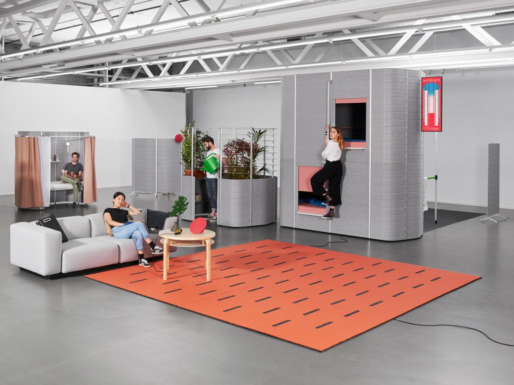 Installation view of Workbay exhibition by Ecal students in collaboration with Vitra. Circuit Carpet by Sara Regal. Made of two separate layers of grooved rubber and felt, this carpet allows the electric cabling to run discreetly throughout the workspace.
