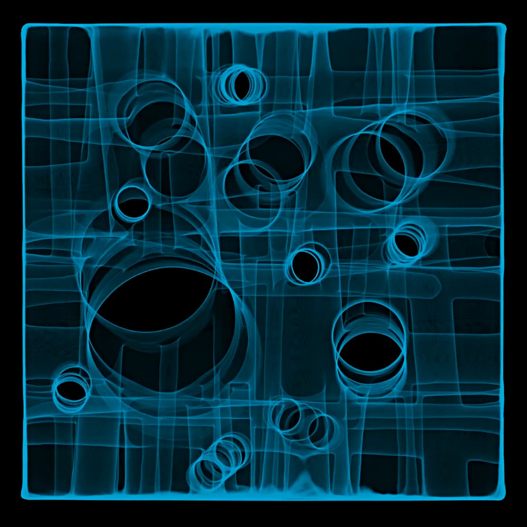 "CORONA III Illuminated digital chromogenic FujiTrans 50"" x 50"" x 4"", framed"