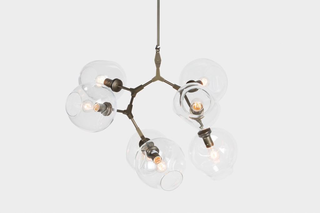 Branching Bubble in vintage brass with clear globes. Photo: Lauren Coleman.