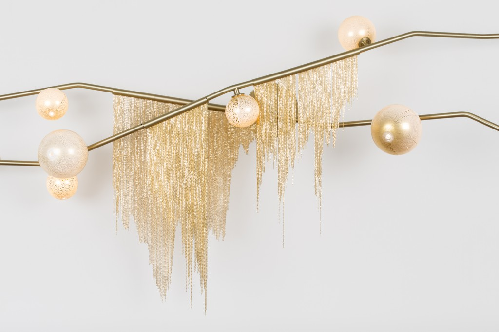 Cherry Bomb Fringe Flush Mount with brushed brass and white & gold globes. Photo: Lauren Coleman.