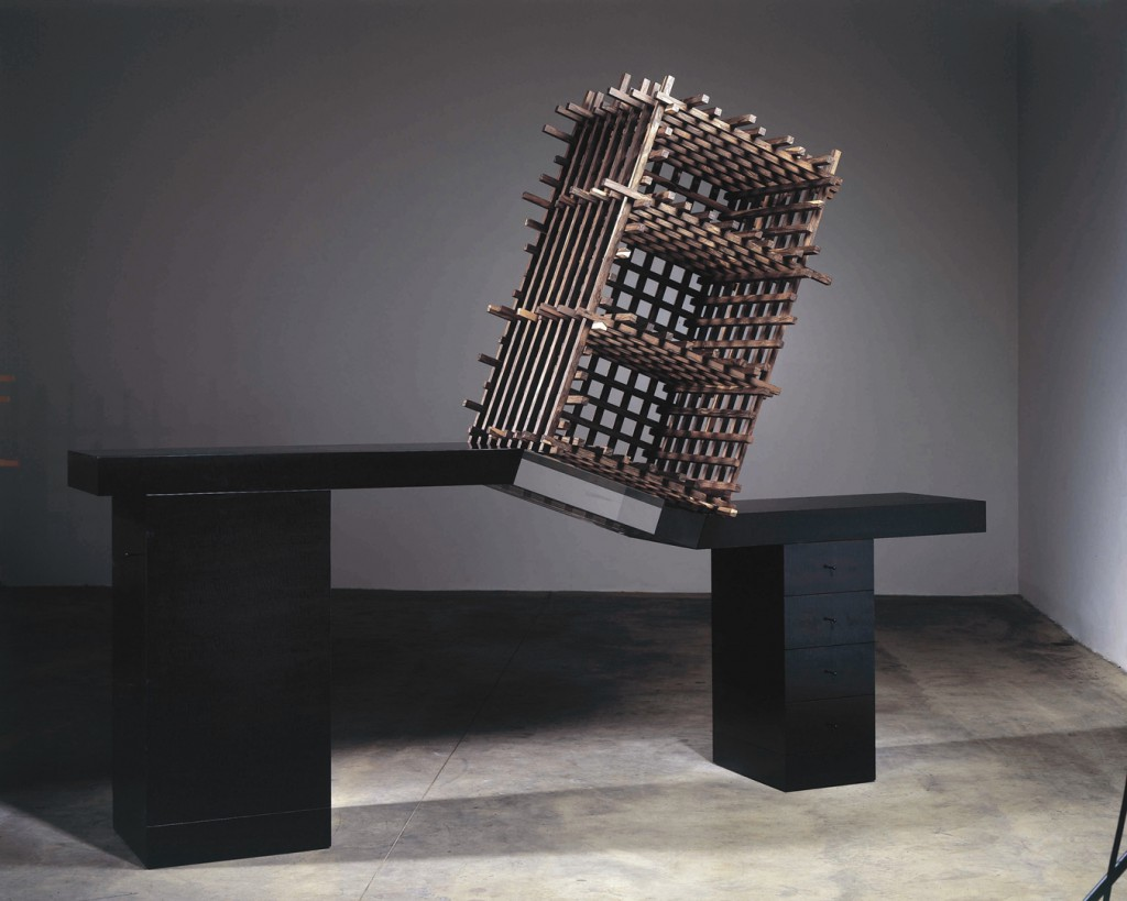 Ettore Sottsass, Cabinet no. 70, 2006, ebonised pear wood, wood and acrylate, series of 6 by The Gallery Mourmans (this example made while Sottsass was still alive), collection Stedelijk Museum Amsterdam. Photo Erik & Petra Hesmerg