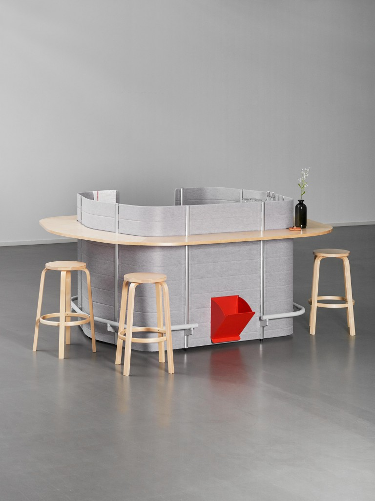 Bar Bay by Sara de Campos. Relying on the Workbays assembly principle, this new bar typology enables office staff to cook and have lunch within a single compact space.