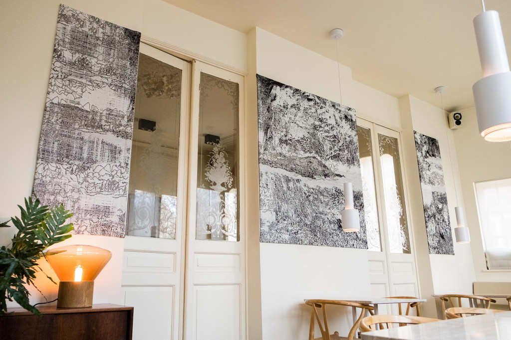 A woven triptych commissioned from the studio by the owner of the restaurant Bouchery in Brussels