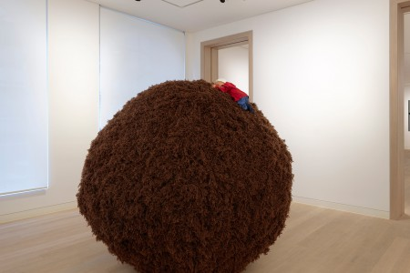 Untitled, 1999 wool and styrofoam in two parts 72 7/8 in. (185 cm.) sphere diameter 21 5/8 x 9 7/8 x 5 7/8 in. (55 x 25 x 15 cm.) doll