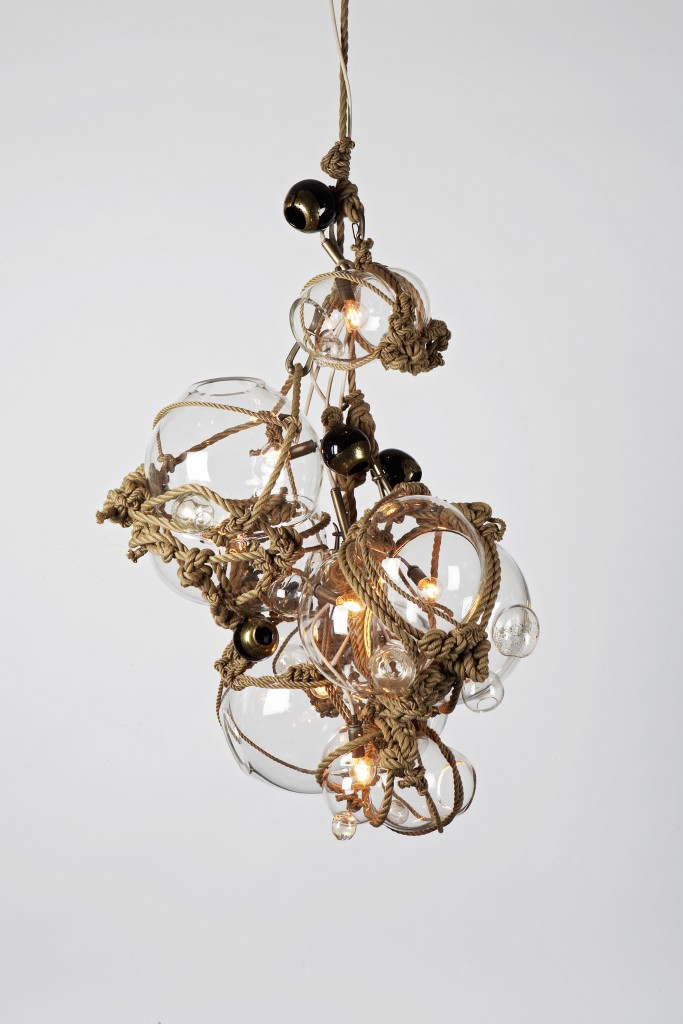 Knotty Bubbles Chandelier C, with clear glass and khaki rope. Photo: Joseph de Leo.
