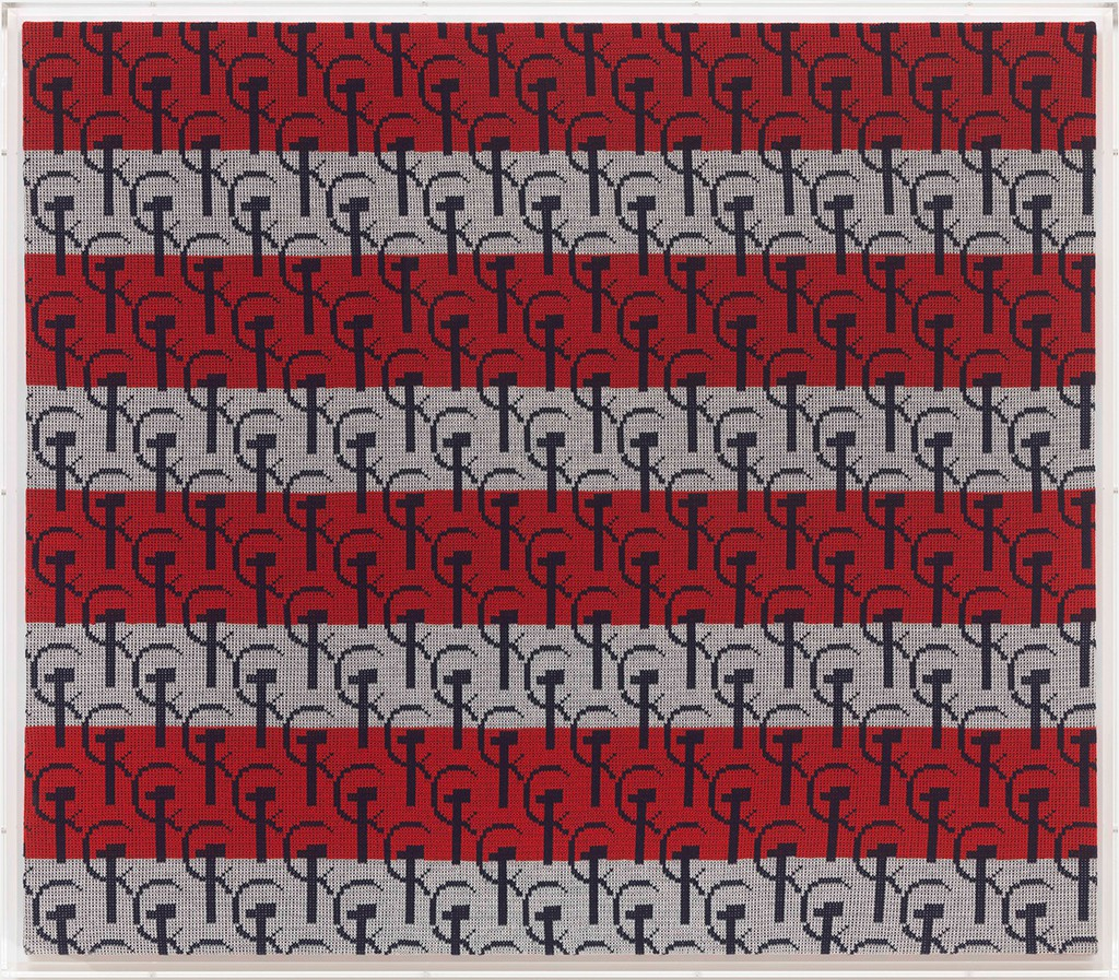 Untitled (Hammer & Sickle), 1986 knitted wool 53 1/8 x 59 1/8 in. (135 x 150 cm.) 53 1/8 x 61 1/8 in. (135 x 155 cm.) perspex case
