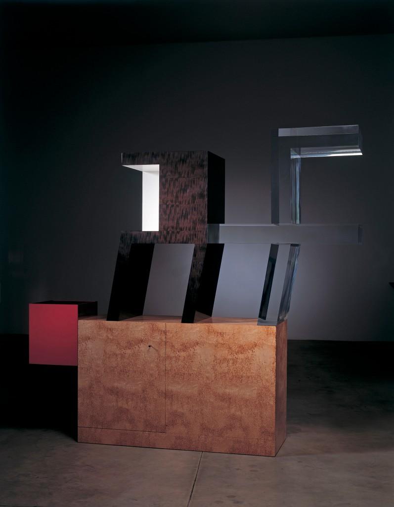 Cabinet no. 76, 2006 Ebonized pear wood, acrylic, birch burl, anodized red aluminum Edition of 6. Courtesy of Friedman Benda