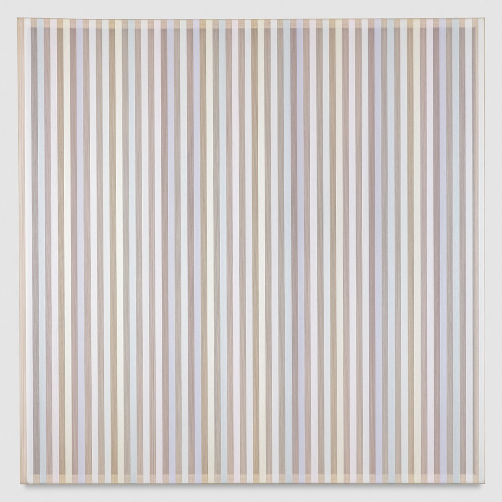 Untitled (Pastel band and hovering thread), 2017 single-strand rayon thread on vertical grain oak 36 x 36 in (91,4 x 91,4 cm) BW17P12