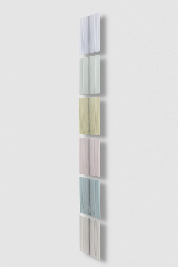 Untitled (Vertical Stack), 2017 single-strand rayon and metallic thread on wood, 6 panels 77 x 12 in (195,6 x 30,5 cm) BW17P18