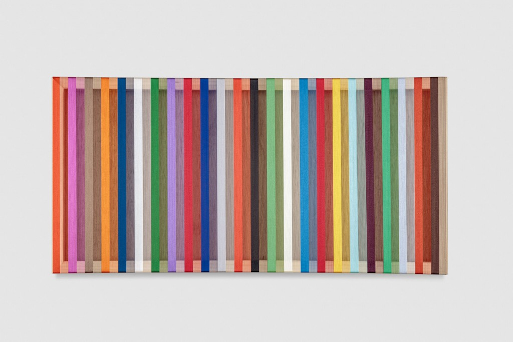 Untitled (Orange to Green Progression), 2017 single-strand rayon thread and oil on basswood 36 x 12 in (91,4 x 30,5 cm) BW17P20