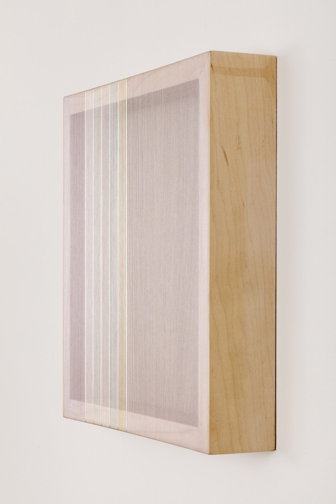 Untitled (White Hovering Thread), 2017 single-strand rayon and metallic thread on vertical grain oak 12 x 12 in (30,5 x 30,5 cm) BW17P26