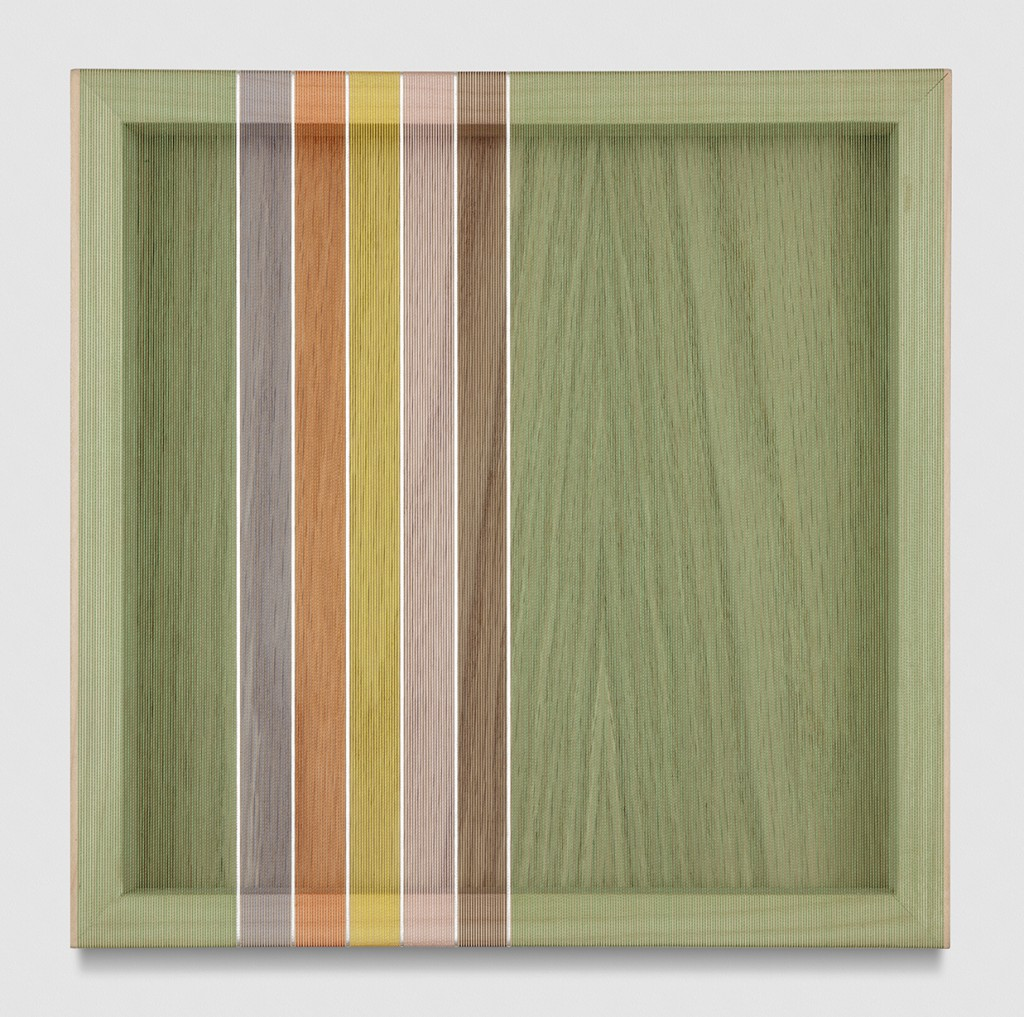 Untitled (Avocado Green Hovering Thread), 2017 single-strand rayon and metallic thread on vertical grain oak 12 x 12 in (30,5 x 30,5 cm) BW17P29