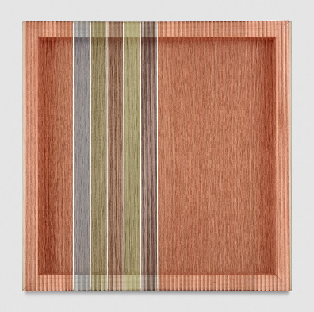 Brian Wills Untitled (Tomato Red Hovering Thread), 2017 single-strand rayon and metallic thread on vertical grain oak 12 x 12 in (30,5 x 30,5 cm) BW17P31