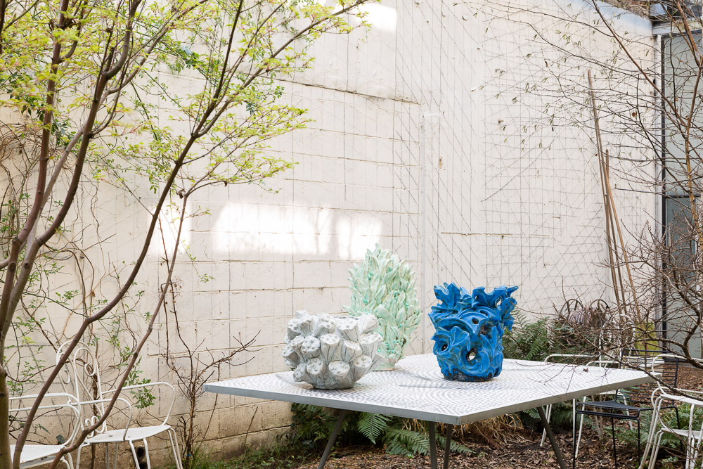 At home with Bela Silva, outdoor impression from her atelier, photographed by Frederik Vercruysse