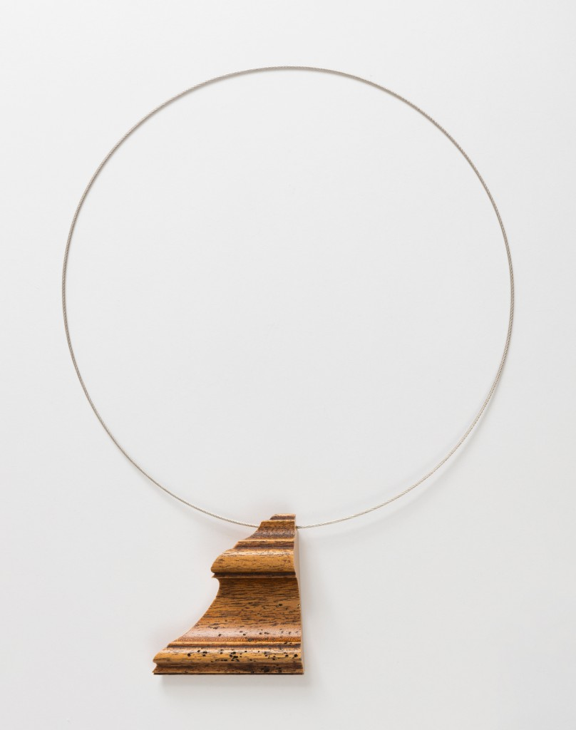 Otto Künzli; Pendant from the Fragments Series, 1986; Picture frame fragment, wood, steel; H x W x D: 35 × 26 × 3 cm (13 3/4 × 10 1/4 × 1 3/16 in.); The Susan Grant Lewin Collection, Cooper Hewitt, Smithsonian Design Museum; Photo: Matt Flynn © Smithsonian Institution