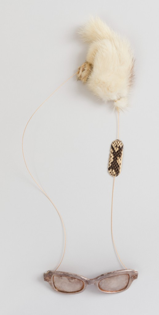 Ted Noten; Crazy Glasses, 2008; Silver, fur, snakeskin; H x W x D: 45 × 15 × 2.5 cm (17 11/16 × 5 7/8 × 1 in.); The Susan Grant Lewin Collection, Cooper Hewitt, Smithsonian Design Museum; Photo: Matt Flynn © Smithsonian Institution