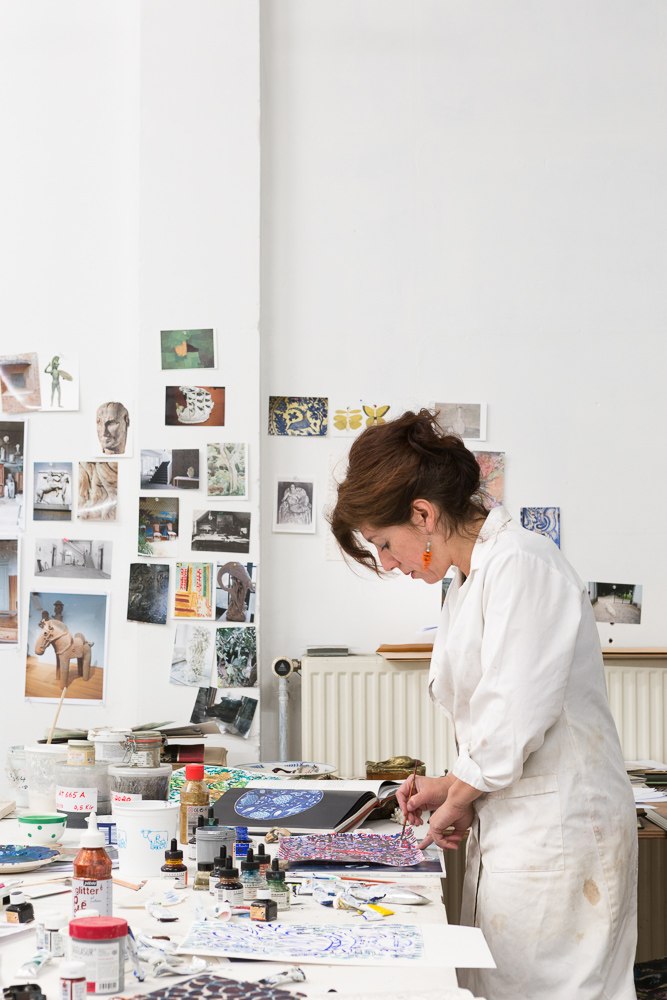 Bela Silva at work in her atelier, photographed by Frederik Vercruysse