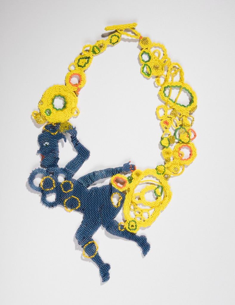 Joyce Scott; Necklace, 2016; Glass beads, thread (Peyote stitch technique); H x W x D: 34.2 × 24 × 1.5 cm (13 7/16 × 9 7/16 × 9/16 in.); The Susan Grant Lewin Collection, Cooper Hewitt, Smithsonian Design Museum; Photo: Matt Flynn © Smithsonian Institution