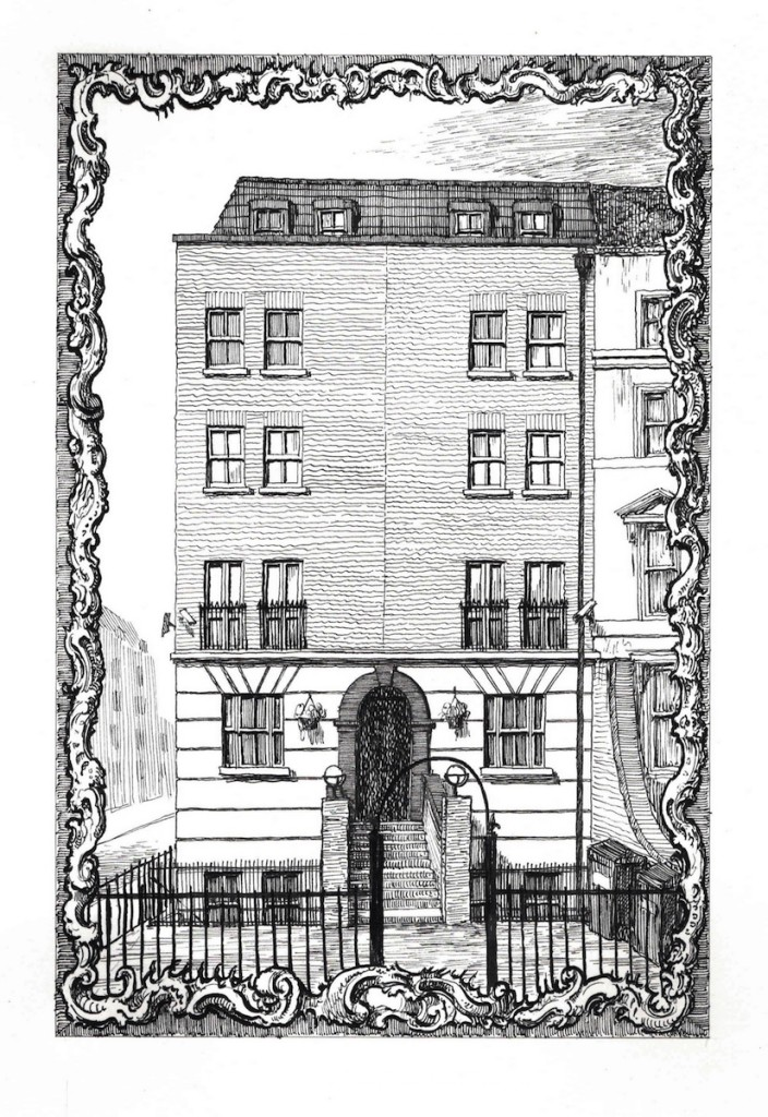428 Hackney Road, corner of Temple Street, E2 7AP Ink on Paper, 21 x 14 cm. Copyright Pablo Bronstein. Courtesy Herald St Gallery, London and Galeria Franco Noero, Turin