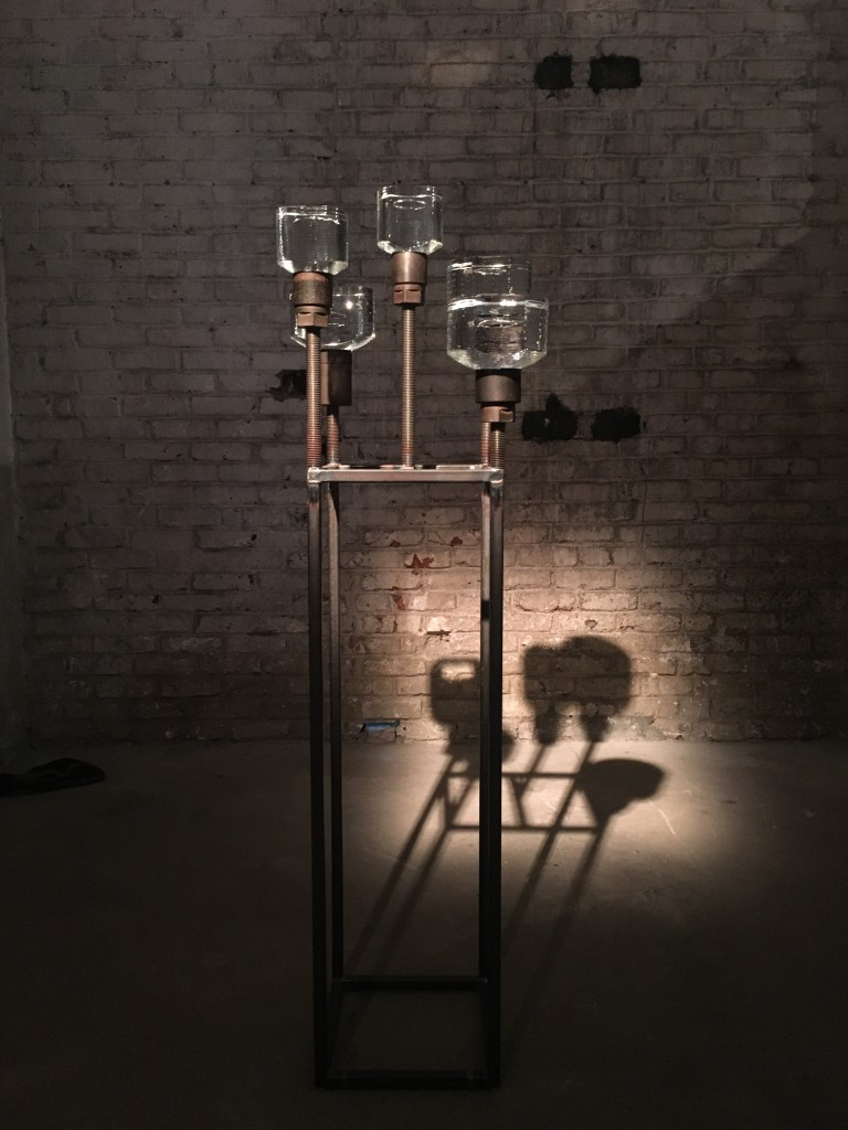 DH McNabb, monitored by the American artist Richard Fishman, was invited in residency from October 2015 until March 2016 at the Cristalleries Saint-Louis / Hermès Group. He explored the hot and cold parts of the glass foundry to create works nourished by scientific, philosophical and literary references