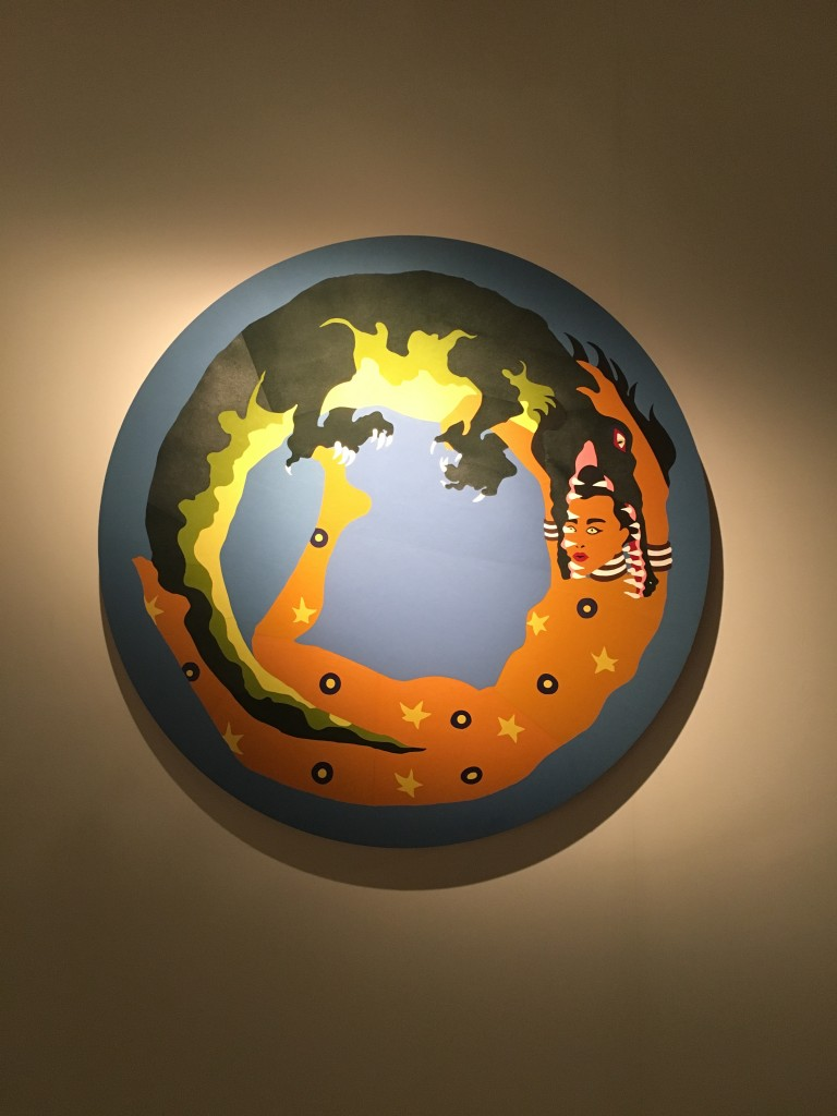 "Lucie Picandet, ""Qui me soit chair"", in leather marquetry depicts a woman caught in the jaws of a crocodile, forming an ouroboros (a circular design with no end). Picandet was mentored by Jean-Michel Alberola, worked at the Hermès leather workshops in Pantin, on Paris's northern rim, from January to March 2015. Complementing this unique leather piece, Picandet has produced a fantastic series of watercolours 'Nexus I, II, III, IV, especially created for this exhibition 'The Sleepless Hands'"