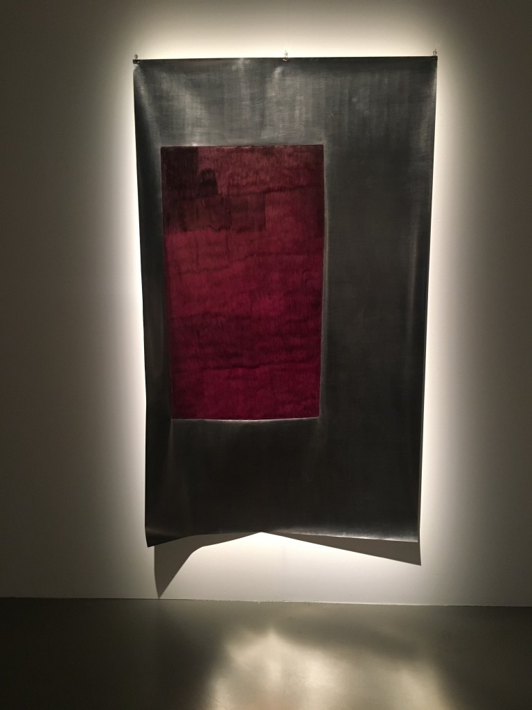 Lucia Bru, (Pleins), 2017, graphite pencil, ball point pen, black ink, polyester, 110 x 180 cm. Courtesy of Axel Vervoordt Gallery, Antwerp