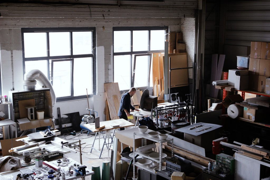 Damien Gernay's workshop. Inside the atelier, prototypes come to life