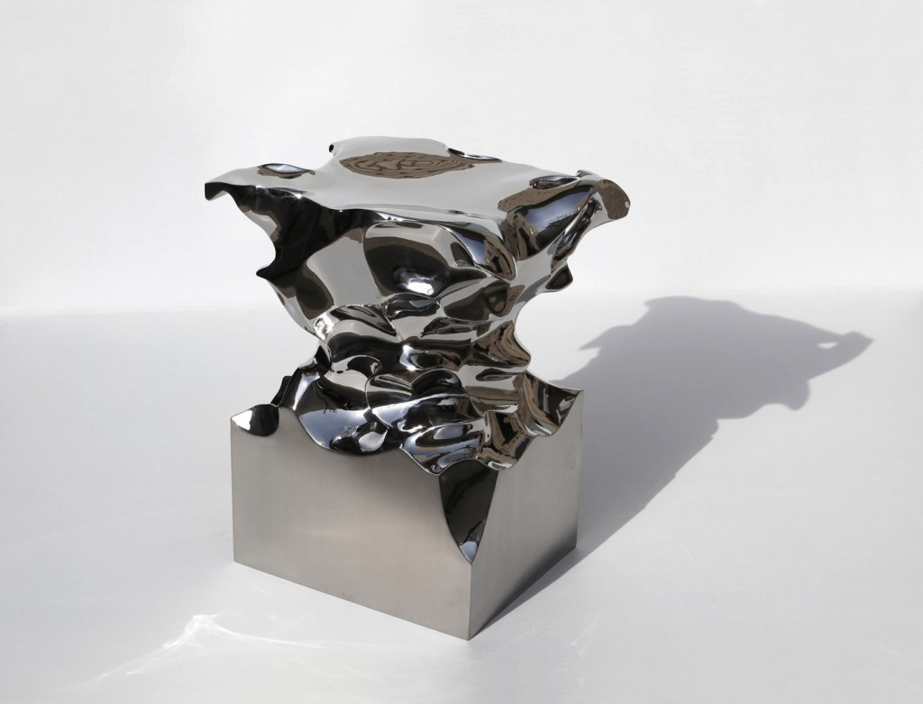 Shi Jianmin, Accordion, stool in stainless steel, 2008