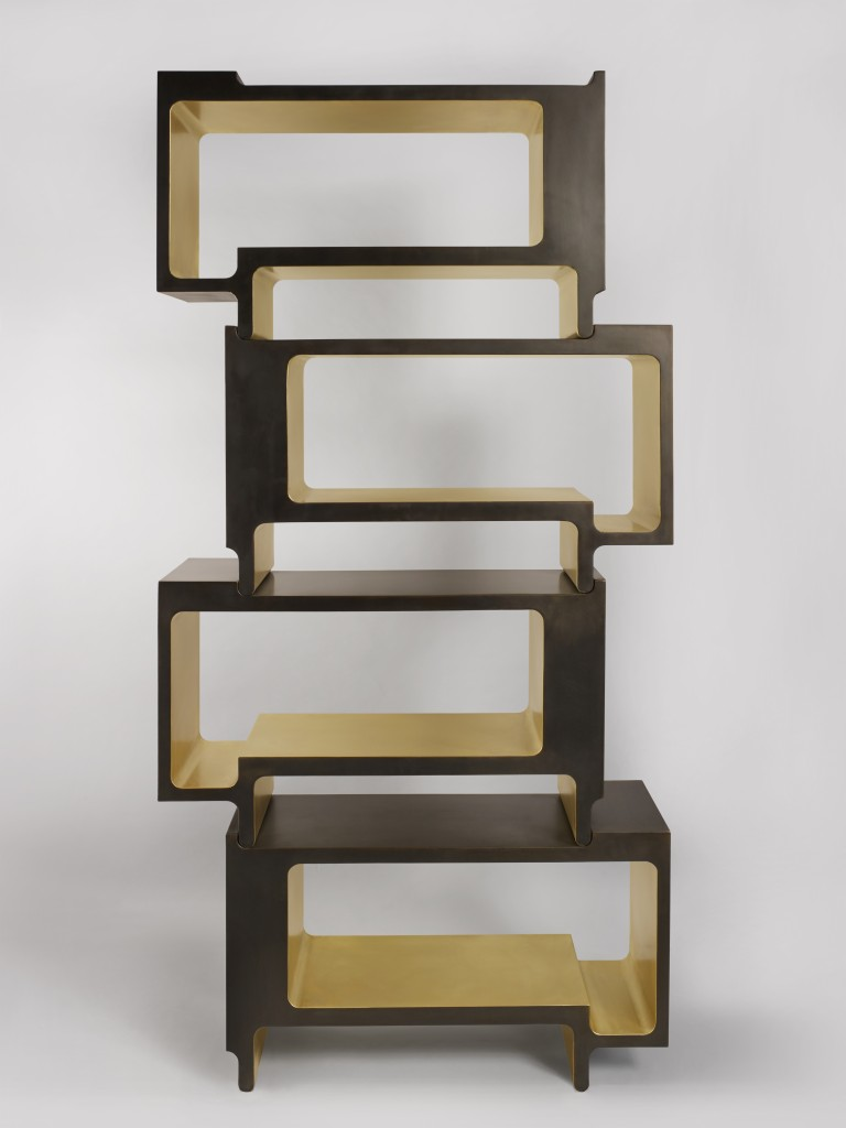 Xiangsheng II, bookcase, brown oxidized bronze and brushed bronze, 8 + 4 AP, ed.galerie BSL Paris, 2016