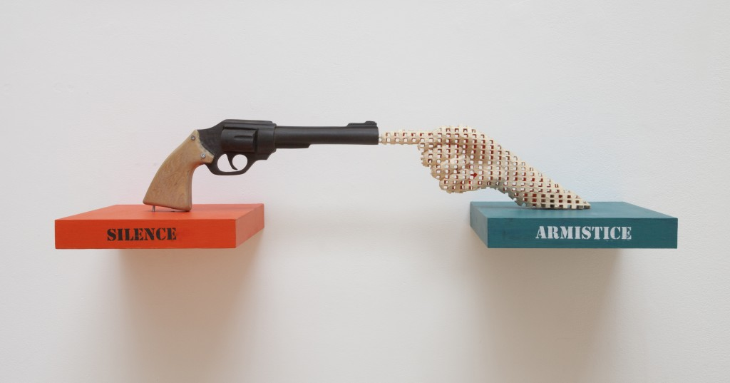 Aimé Mpane, What's Peace ? sculptures, acrylic paint and mixed media, 2015