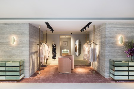 View of the entrance of Carine Gilson new store on boulevard de Waterloo in Brussels. Photo by Frederik Vercruysse